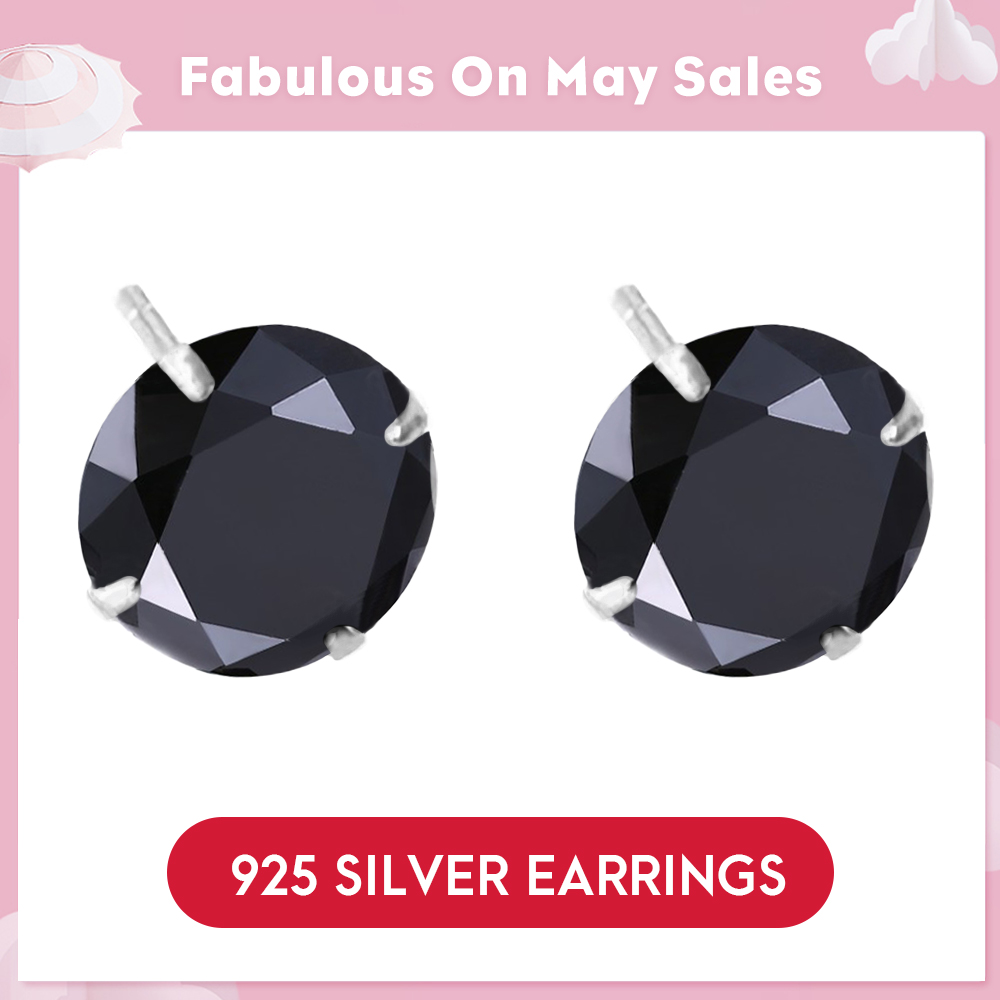 LicLiz Fashion New 925 Sterling Silver CZ Stud Earring For Women Round Black Jewelry Simple Dark Cubic Zircon Studs Gift LE0285DLicLiz Fashion New 925 Sterling Silver CZ Stud Earring For Women Round Black Jewelry Simple Dark Cubic Zircon Studs Gift LE0285D