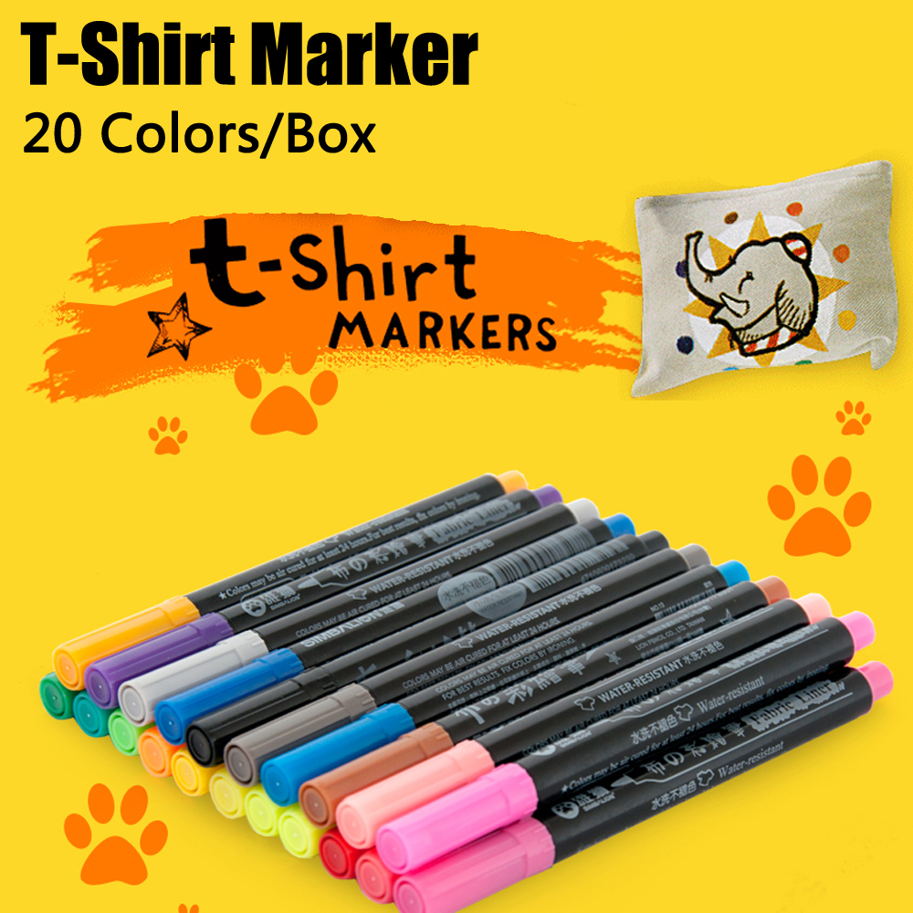 20 Colors Cloth Marker Set Painting Clothes Textile Paint Markers Waterproof Watercolor Student Drawing for T Shirt Art Supplies touchnew 60 colors artist dual head sketch markers for manga marker school drawing marker pen design supplies 5type