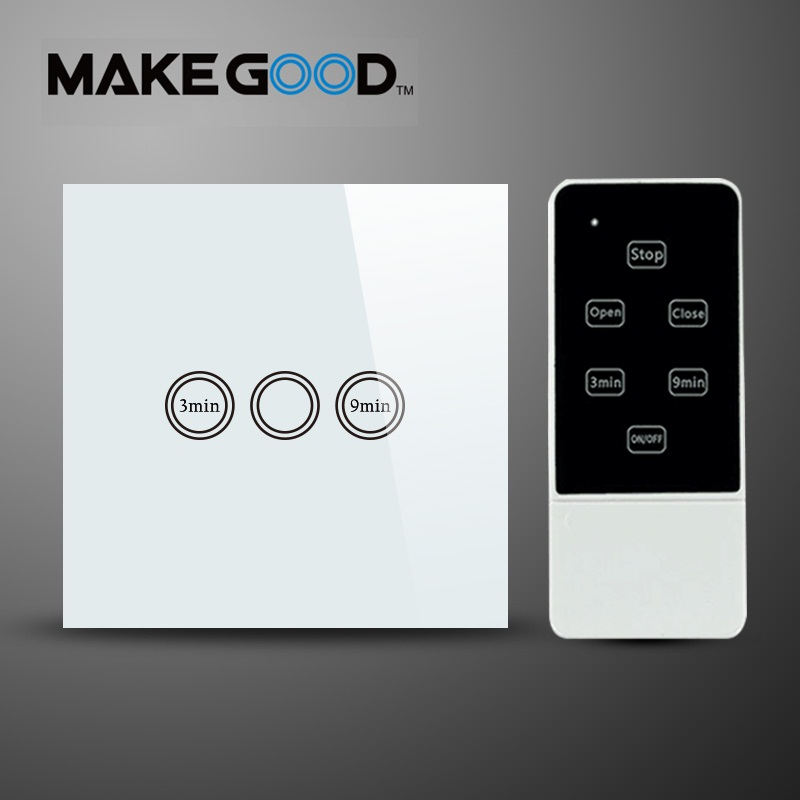 Makegood EU Standard Wireless Remote Touch Glass Panel Light Time Delay Switch , AC 110-240V ,1 Gang 1 Way  Wall Timer Switch