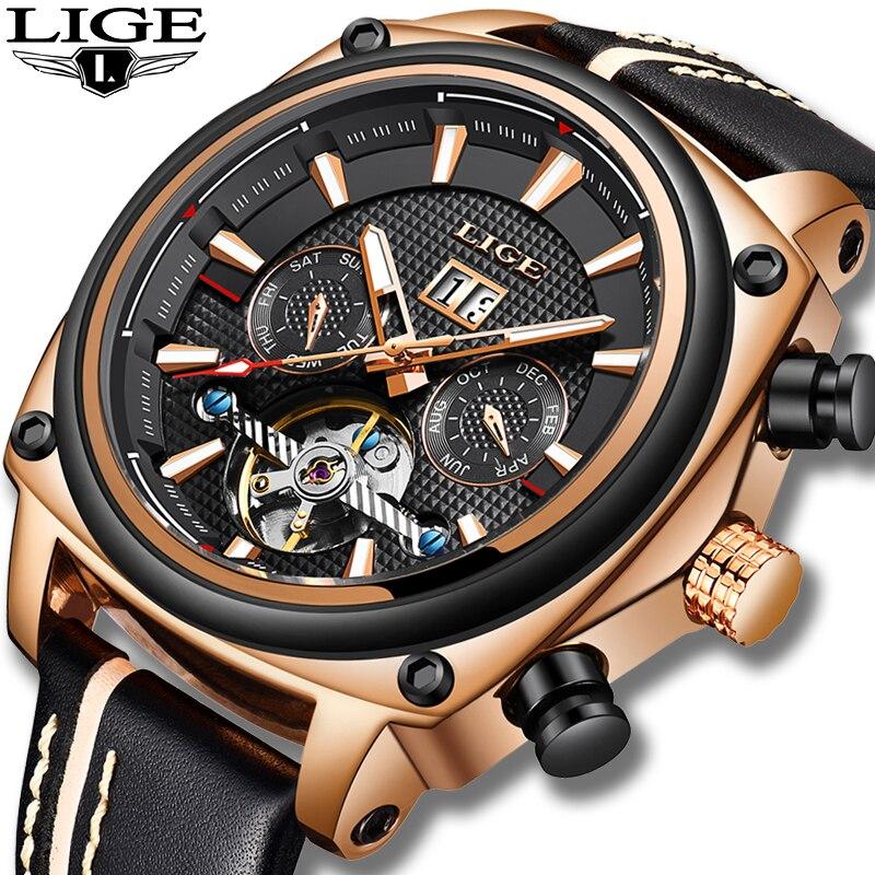 2019 Nova LIGE Mens Relógios Top Marca de Luxo de Couro Tourbillon Relógio Mecânico Automático Dos Homens À Prova D' Água Esportes Relógio De Máquinas