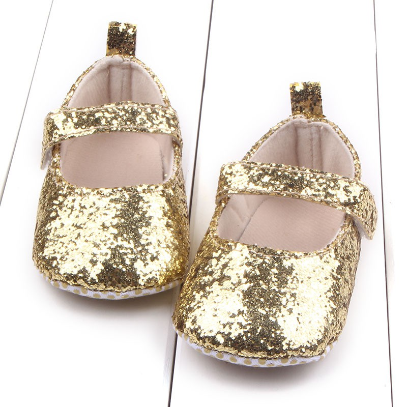 Fashion Newborn Baby Girl Princess Shoes Sequins Bling Crib Shoes Prewalker Soft Sole K08