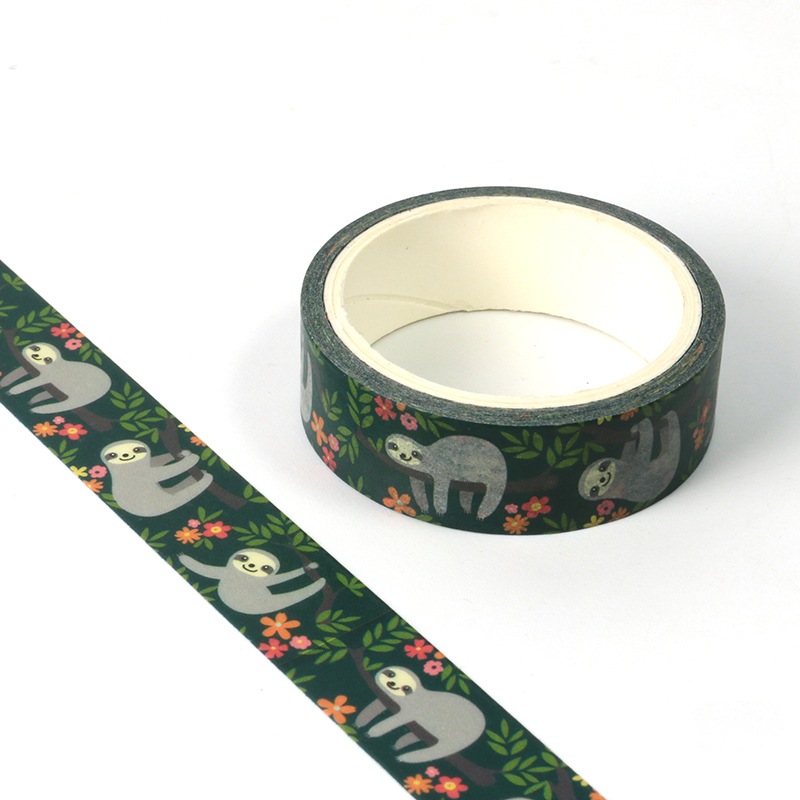 1X Cute Washi Tape Animal Sloth Design DIY Planner Masking Tapes School Office Supplies