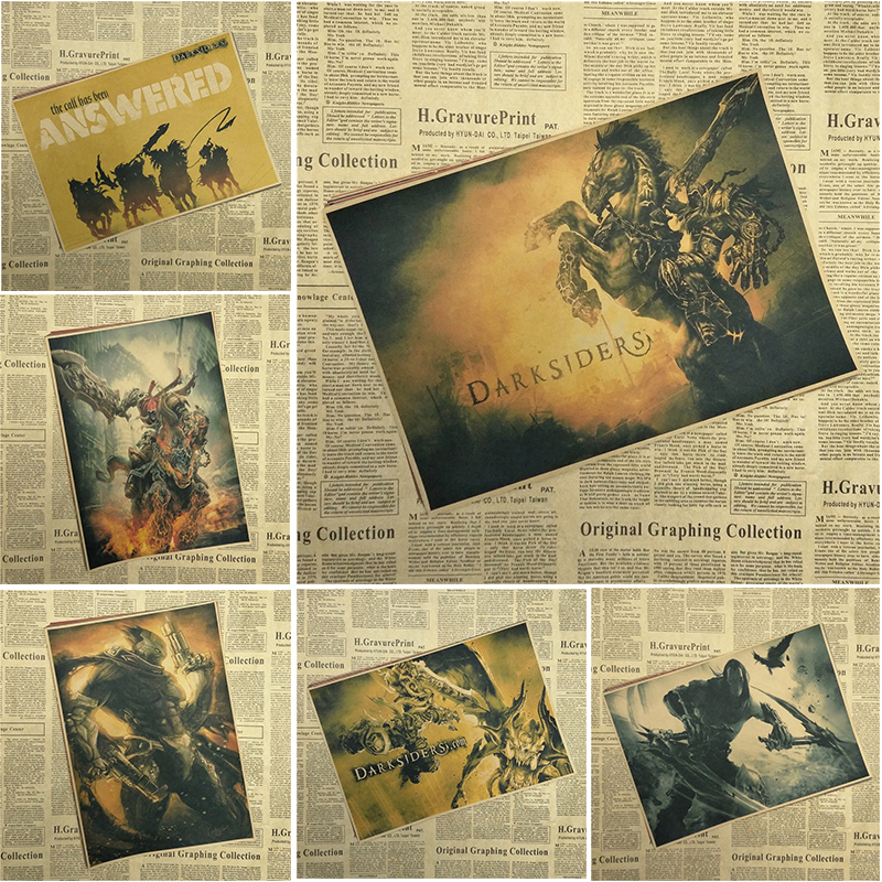 Darksiders Wrath of War Classic Game Kraft Paper Poster Bar Cafe Living Room Dining room Wall Decorative Paintings