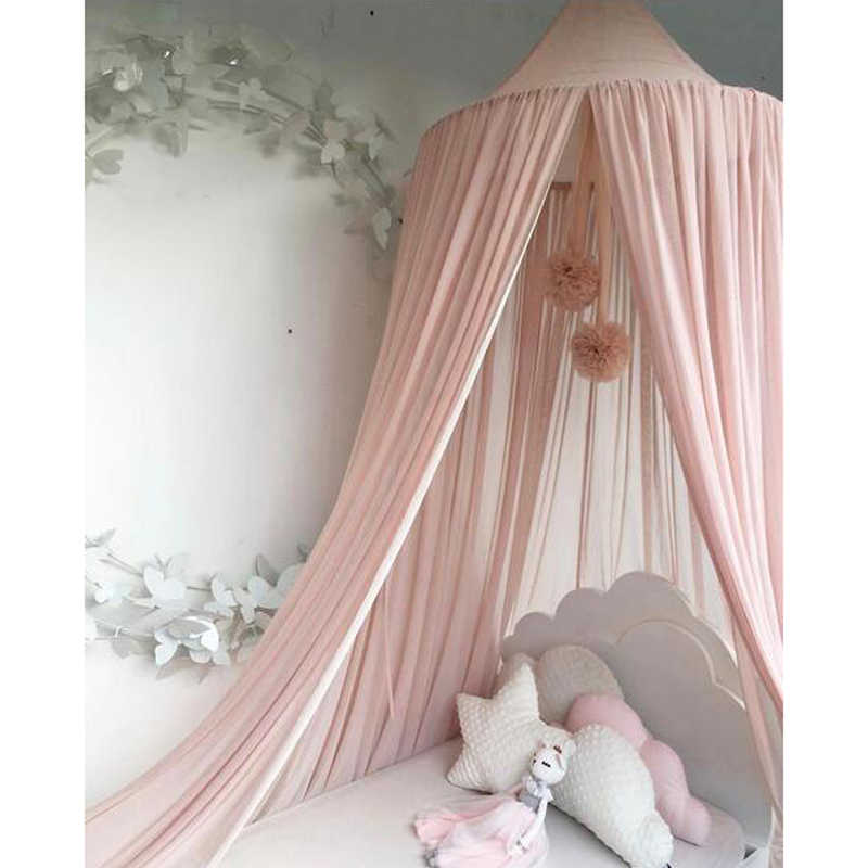 QETUOA 2020 Summer Mosquito Net Childrens Crib Shelf Bed Cover Cotton Round Hanging Dome Mosquito Net Tent Girls Room Decoration Mosquito Net