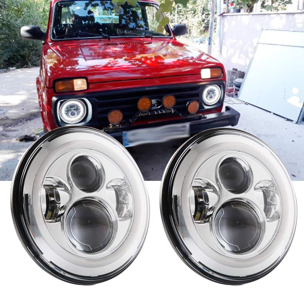 2x 40W 7 Led Headlight H4 High Low Beam Round Cars Running Lights for Jeep Lada