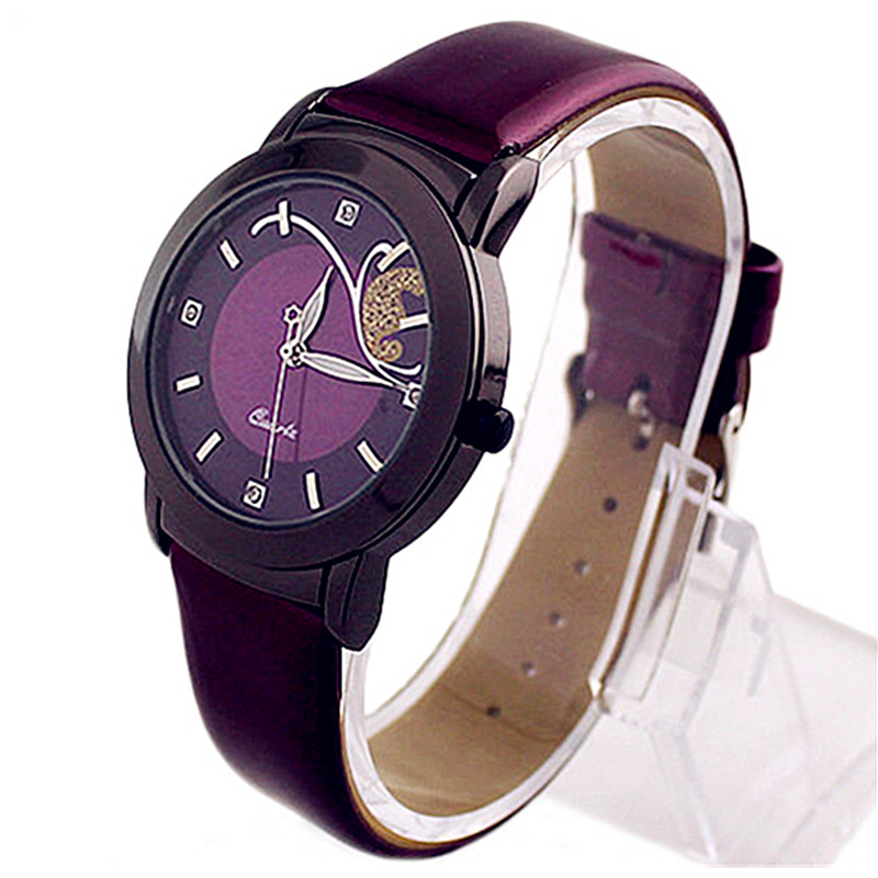 Mature Women Watches Fashion Casual Clock Red Purple Leather Watch Band Quartz Avant-garde Qirl Wrist Watch Relogio FD0509