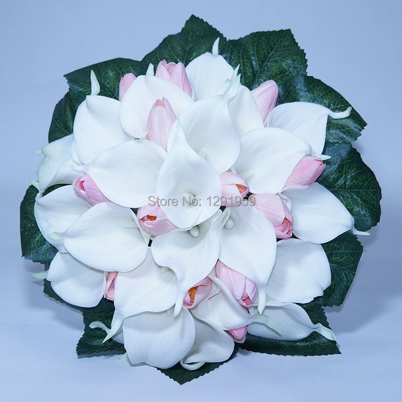 25cm 9 8 Diameter White Pink Tulip Pu Calla Lily Green Leaves Decoration Satin Ribbon Handle Wedding Bridal Flower Bouquet In Artificial Dried Flowers