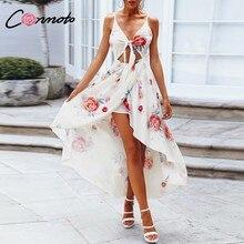 0269129b59 Conmoto asymetryczny łuk biały kwiatowy szyfonowa sukienka Crop plaża  czeski ramiączko spaghetti do sukienki Sexy kobiet na co d.