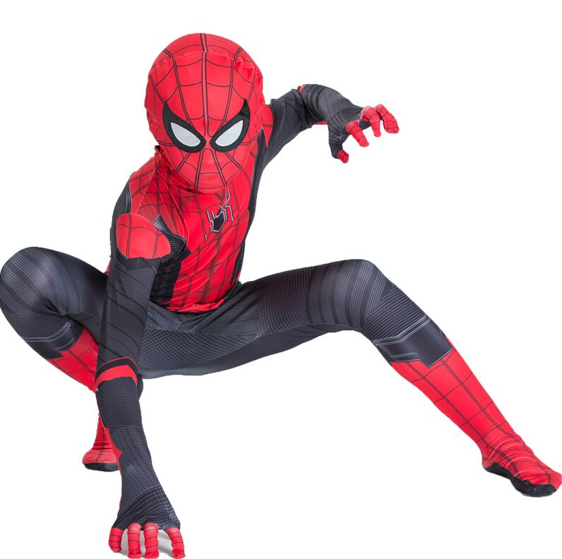 2019 Men Kids Spider Man Far From Home Peter Parker Cosplay Costume Zentai Spiderman Superhero Bodysuit Suit Jumpsuit Halloween