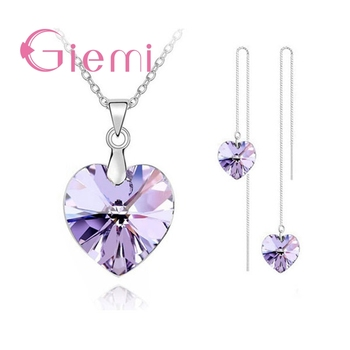 Austrian Crystal Heart Authentic 925 Sterling Silver Jewelry Sets  1