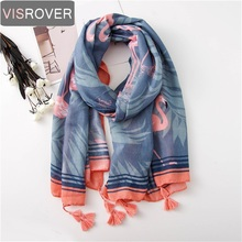 VISROVER lady beach scarves flamingo scarf with tassel summer women wrap viscose tropical print scarf shawl plant printing