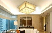 Moderno LED lamparas de Superficie Cuadrada montado en Madera De ROBLE PVC casa de madera llevó la lámpara de techo lámpara de techo sala de estar dormitorio