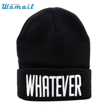 Womail Good Deal  New Fashion Winter Black Whatever Beanie Hat And Snapback Men And Women Cap Gift 1PC