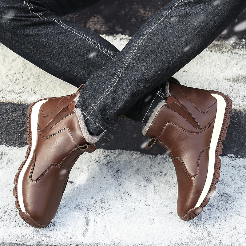 2018 Casual Winter Stiefel Warm Halten Männer Hohe Qualität PU Leder Tragen Wider Sicherheit Schuhe Weiche Atmungsaktive Mode Boot für männlichen