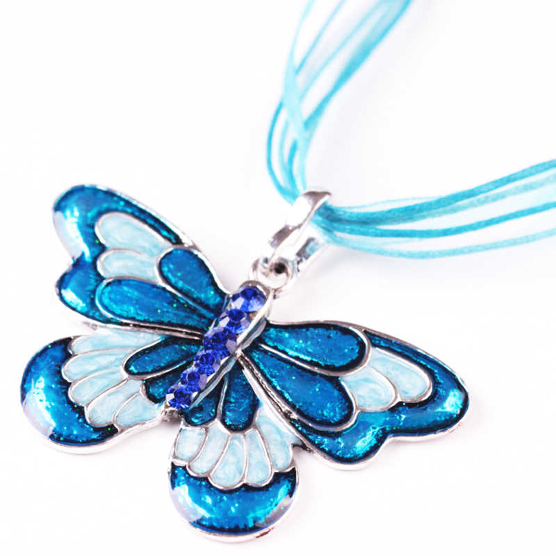 Vintage Crystal Enamel Alloy Butterfly Pendant Necklace For Women Black Blue Red Purple Butterfly Necklace Jewelry Gifts