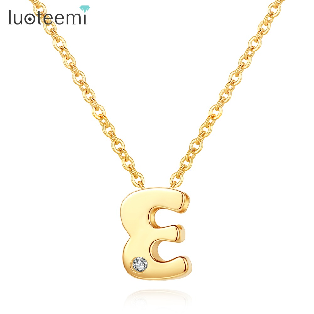 LUOTEEMI Classic Authentic Gold Tiny CZ 26 pcs Initials Letter Pendant Necklace for Women Charming Chain Necklace JewleryLUOTEEMI Classic Authentic Gold Tiny CZ 26 pcs Initials Letter Pendant Necklace for Women Charming Chain Necklace Jewlery