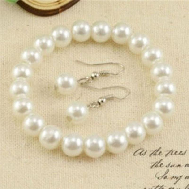 Women Genuine 7 8mm Natural Freshwater Pearl Necklace Bracelet Earrings Set in Jewelry Sets from Jewelry Accessories