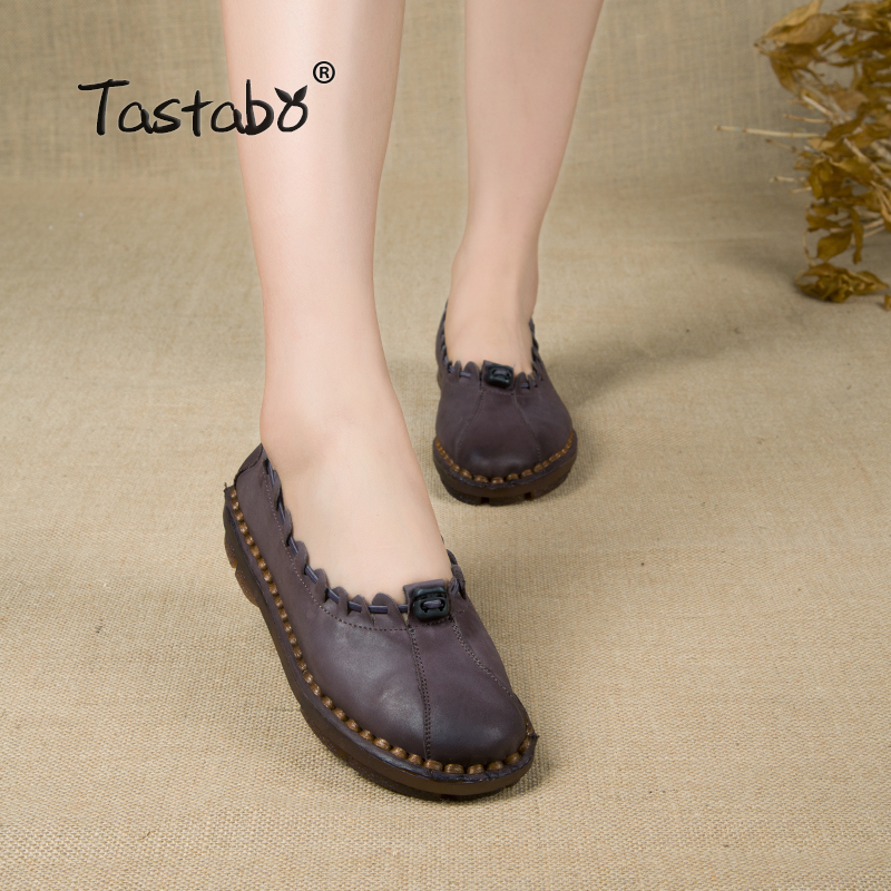 Tastabo Handmade Autumn Women Genuine Leather Shoes Cowhide Loafers Real Skin Shoes Folk Style Ladies Flat Shoes For Mom Sapato original handmade autumn women genuine leather shoes cowhide loafers real skin shoes folk style ladies flat shoes for mom sapato