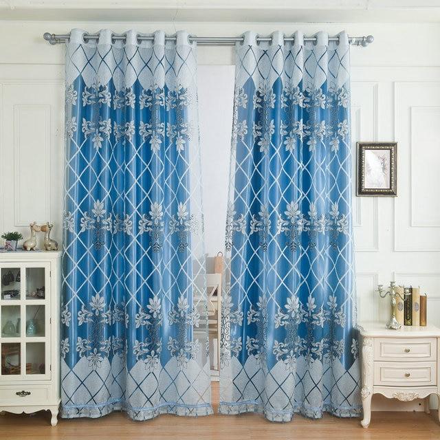 Glas Perlen Vorhänge Luxus Blackout Vorhang Bestickt Voile Für Wohnzimmer Schlafzimmer  Blau Höchste Qualität Jacquard Dekoration