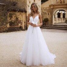 Vestidos de novia de estilo bohemio en la playa 2020 Apliques de encaje espagueti Correa blanca vestidos de novia románticos vestido de novia vintage