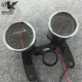 1 set of double motorcycle speedometer Tachometer with Bracket LED motorbike Odometer unviersal Mechanical transfer table chorme