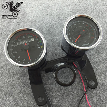 1 set of double motorcycle speedometer Tachometer with Bracket LED motorbike Odometer unviersal Mechanical transfer table chorme Мотоцикл