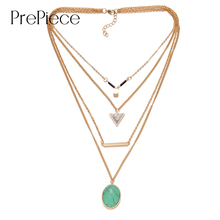 PrePiece Natural Turquoise Triangle Alloy Bar Pendant Multi Layer Necklace Gold Plated 2016 New Vintage Bohemian Jewelry PN0224