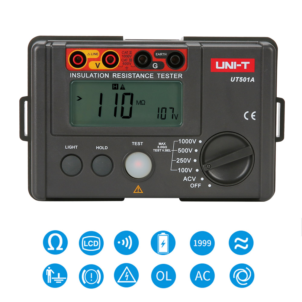 UNI-T UT501A 1000V Insulation Resistance Meter Tester Earth Ground Tester Megohmmeter DC AC Voltmeter w/LCD Backlight uni t ut522 2 7 lcd digital earth ground resistance voltage meter tester 6 x aa