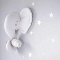 اليدوية 3d رأس حيوان محشوة دمية الفيل جدار شماعات الفني نوم للاطفال 35 سنتيمتر الطول