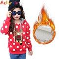 Girls Christmas Deer Knitwear Outerwear Winter Children Hooded Plus Velvet Shirt Kids Warm Clothes Thick Vestidos