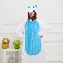unicorn Pink Blue Cartoon Design Animal Cosplay Pajamas Kid Boy Girls Flannel Sleepers Female Male Pijamas pyjamas Hooded Style