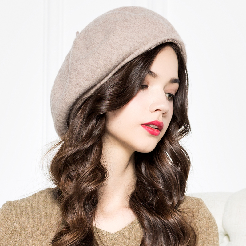 Queen Winter Vintage Women Cute French 100% Wool Berets Hat For Ladies Beret Cap