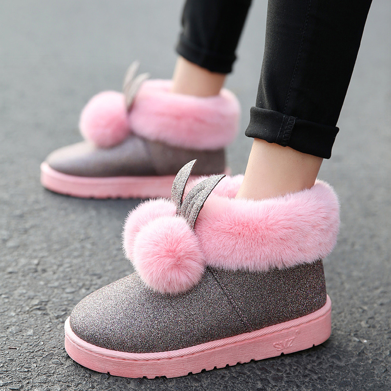 Women boots Rabbit Ears Slip On Winter Platform Warmer Plush Ankle snow Boots 2018 New Fashion Women Shoes revell набор автомобиль shelby mustang gt 350 h 1к24 page 6