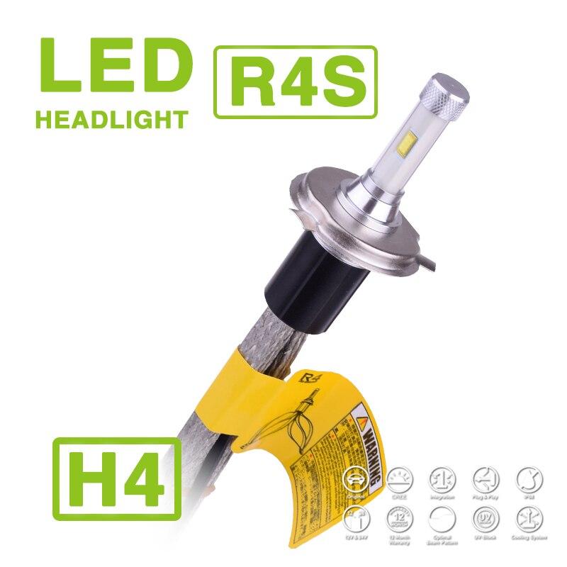1 Set H4 HB2 9003 90W 10400LM R4S LED Headlight Slim Conversion Kit 3000K 4300K 6000K 8000K Hi/Low Du Beam Driving Fog Lamp Bulb