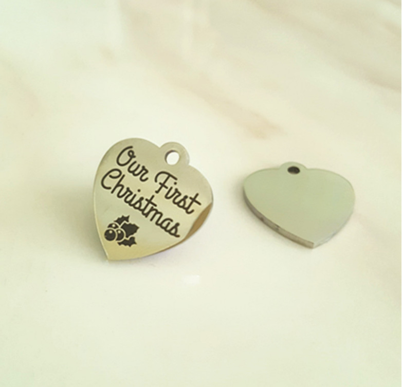 Our First Christmas Charm Stainless Steel Heart Charms Mm Pcs Lot
