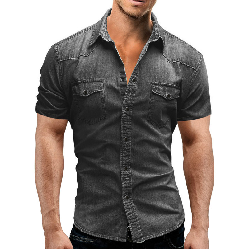 Men Shirt 2019 New Western Style Camisas Hombre Fashion Casual Streetwear Short Sleeve Denim Shirts Men Dress High Quality