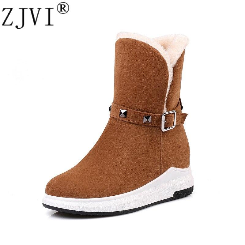 ZJVI 2019 winter woman snow boots for women flat platform ankle suede warm fur ladies wedges heels shoes female waterproof
