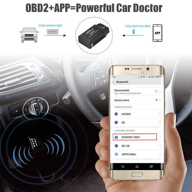 US $7 63 15% OFF|KONNWEI KW910 Universal OBD2 Bluetooth ELM327 V 1 5  Scanner for Android Auto OBDII Scan Tool OBD 2 ODB II ELM 327 V1 5  Scanner-in