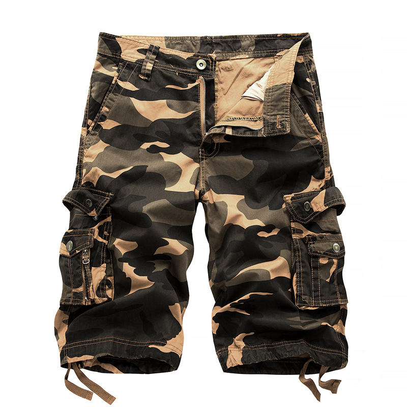 2018 new Mens Casual Solid Multi Pockets Cargo Shorts New Fashion Capri Male Cargo Combat Camo Trousers Breeches