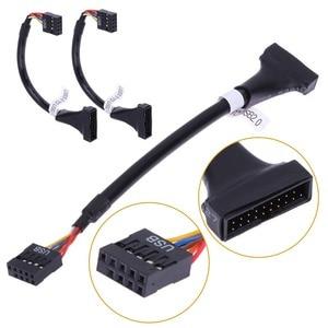 Image 4 - Per CD ROM floppy drive pannello adattatore USB 3.0 20 Spille maschio a USB2.0 9 Spille femminile flessibile cavo del computer adattatore di scheda madre