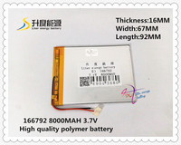 7 4V 8000mAH 166792 Polymer Lithium Ion Li Ion Battery For Tablet Pc Cell Phone MOBILE
