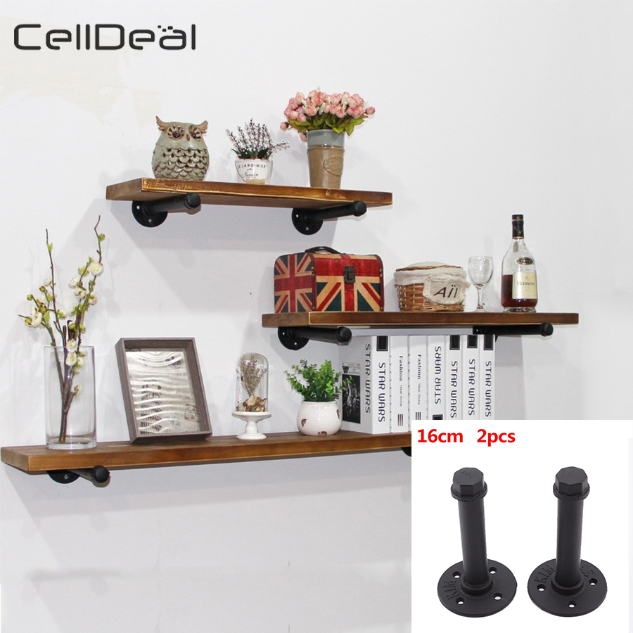 Pair Of Industrial Iron Pipe Plank Bracket Set Wall Shelf Support Durable