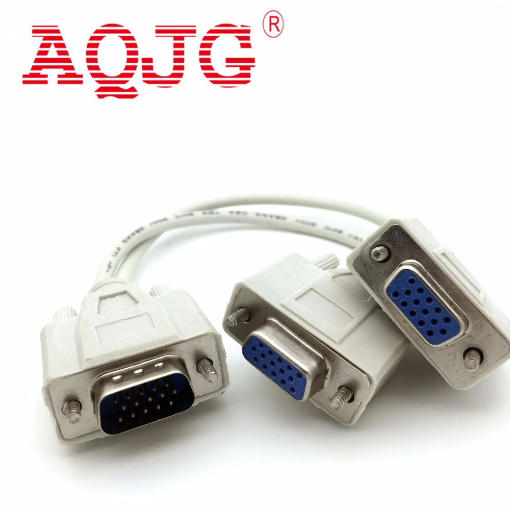 vga Male to 2 Female Serial Rs232 Splitter Cable VGA  Male to 2 Female 2 in One Cable for Cash Register Displays VGA15 PIN AQJG rp sma female to y type 2x ip 9 ms156 male splitter combiner cable pigtail rg316 one sma point 2 ms156 connector for lte yota
