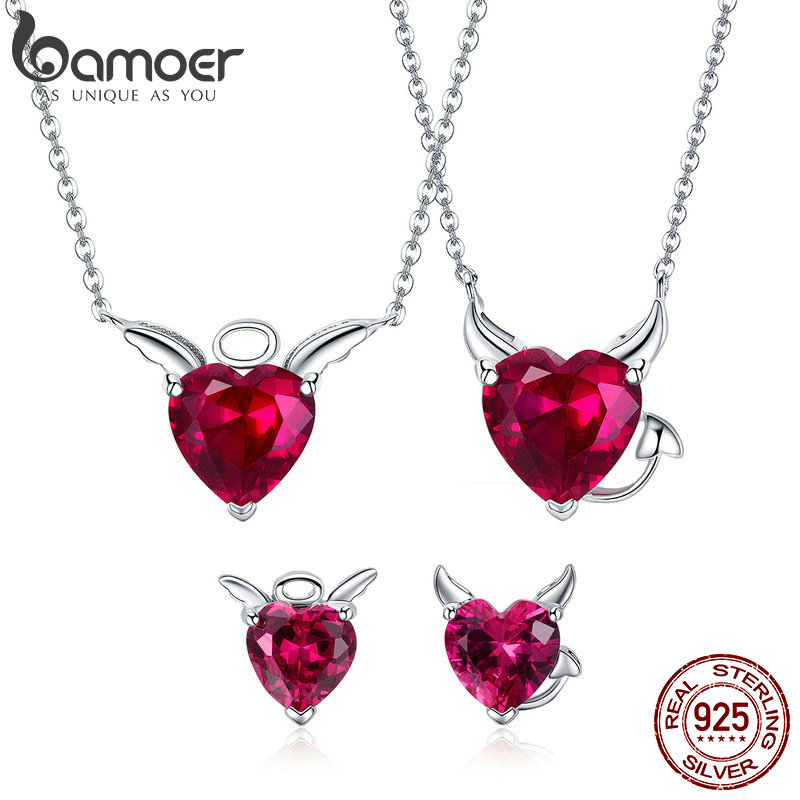 BAMOER Authentic 925 Sterling Silver Red CZ Evil And Angel Pendant Necklace Earrings Jewelry Set Sterling Silver Jewelry ZH067 new authentic 925 sterling silver evil eye luxury women fashion cz blue stone silver necklace