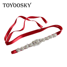 Rhinestone Wedding Women Belts Crystal Pearls Handmade Bridal Belt Satin Dress Waist Ribbon