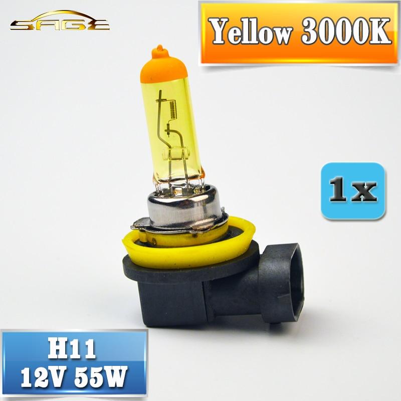 H11 Halogen Bulb 12V 55W Yellow 1 Piece PGJ19-2 3000K Quartz Glass Car Fog Light Auto Lamp durapro 3pcs lp e6 lp e6n battery lcd usb charger for canon eos 5d 5d2 5ds mark ii 2 mark iii 3 6d 60d 7d 7d2 7dii 70d 80d