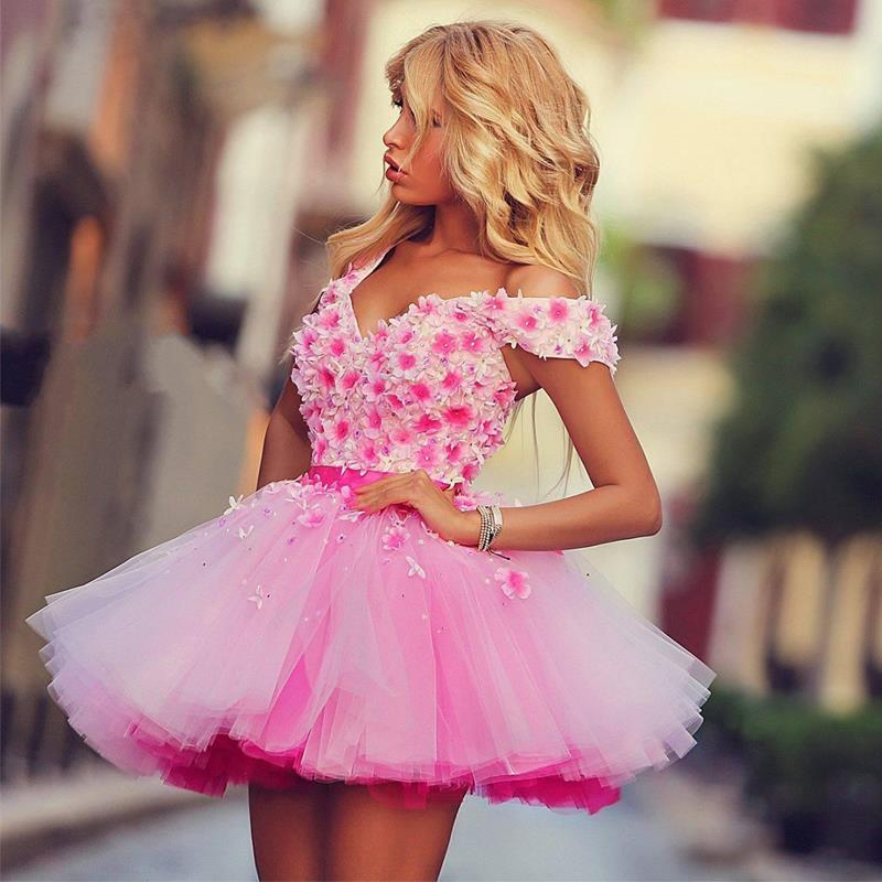 Cute Pink Mini Short   Cocktail     Dresses   Flower Appliques Prom   Dresses   Party Gowns