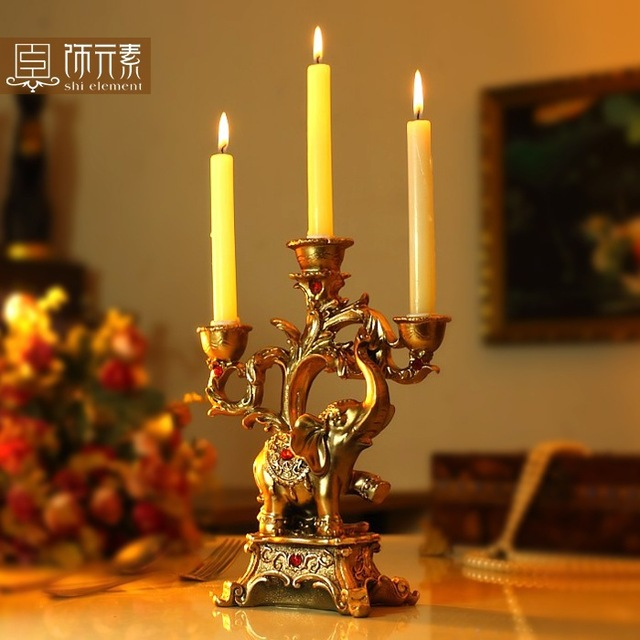 Lucky Elephant Fashion Classical Decoration Romantic Dining Table Gift Candle  Stand Holder 18*8*