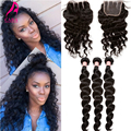 7A Peruvian Virgin Hair With Closure Human Hair Loose Curly 4 Pcs/Lot 3 Bundles With Closure Peruvian Loose Wave With Closure