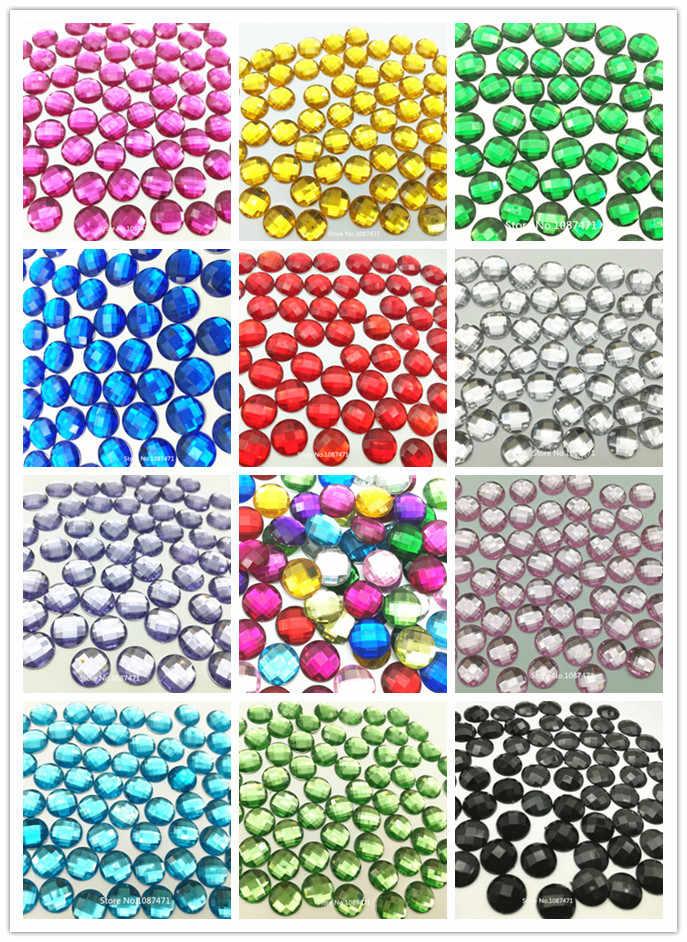 Bộ 1000 6 Mm Màu Hỗn Hợp Đá Flatback Acrylic Tròn Strass Tinh Thể Và Đá Cho Quần Áo Hàng Thủ Công Đồ Trang Trí